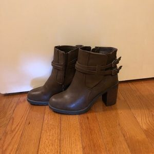 Brown Heeled Booties with Buckles